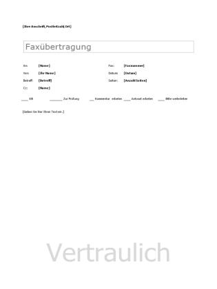 Faxdeckblatt
