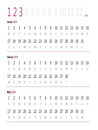 Quartalskalender 2014