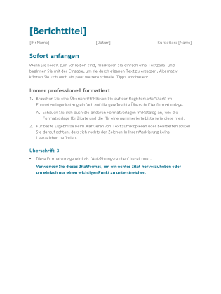 Bericht für Schüler und Studierende