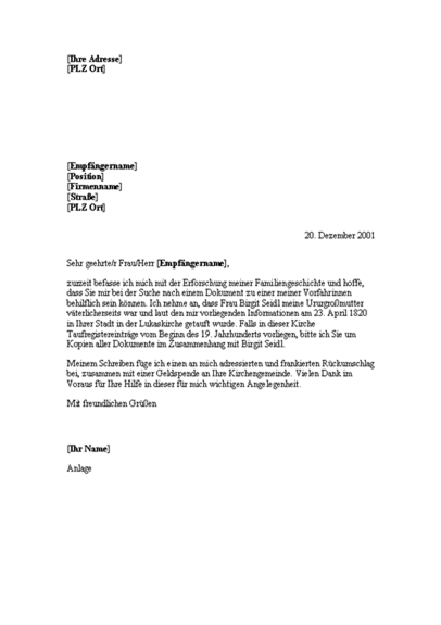 Bitte um genealogische Dokumente (Kirche)