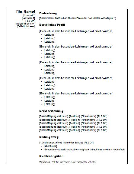 """Funktioneller Lebenslauf (Design """"Vertikal"""")"""