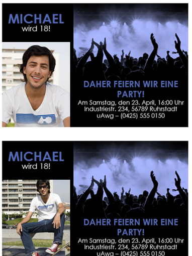Einladungen zur Party (Blau auf Schwarz)