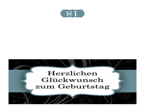 Geburtstagskarte (blaues Band, Mittelfaltung)