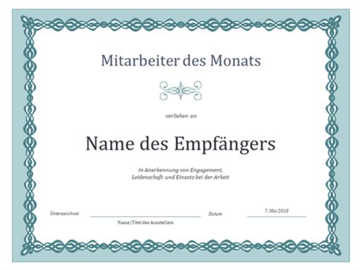 Urkunde für Mitarbeiter des Monats (Design mit blauem Kettenmuster)