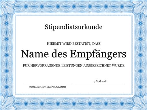 Stipendiatsurkunde (formell, mit blauem Rand)