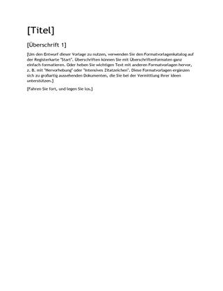 Leere Berichtvorlage