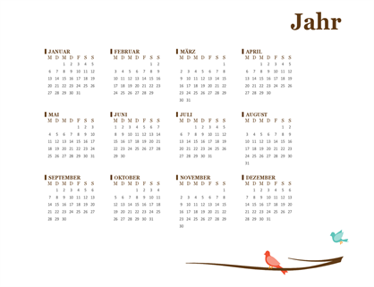 Jahreskalender 2018 (Mo–So)