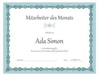 """Urkunde für den """"Mitarbeiter des Monats"""" (Design """"Blaue Kette"""")"""