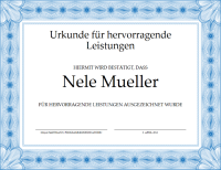 Urkunde für hervorragende Leistungen (blau)