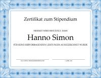 Zertifikat zum Stipendium (formeller blauer Rahmen)