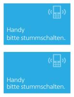 """Poster """"Handys ausschalten"""" (blau)"""
