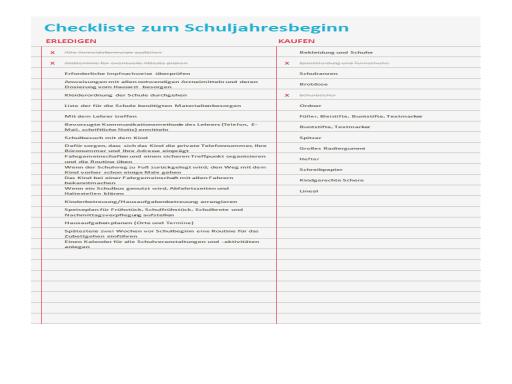 Checkliste zum Schuljahresbeginn