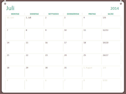 Akademischer Kalender 2014 - 2015 (Juli - Juni)