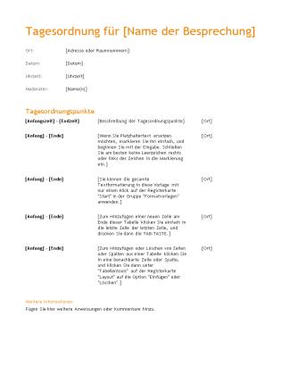 """Tagesordnung für geschäftliche Besprechung (Design """"Orange"""")"""