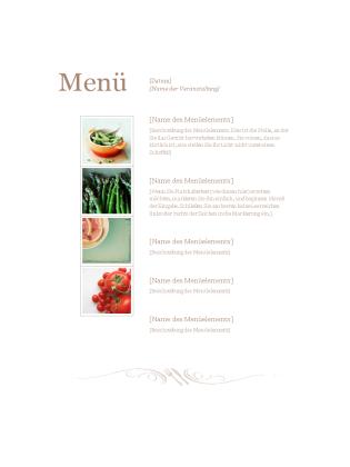 Speisekarte für ein Restaurant
