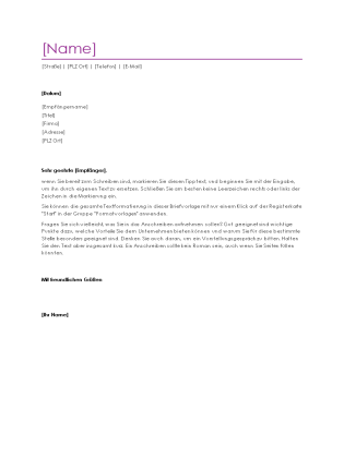 """Anschreiben für Lebenslauf (Design """"Violett"""")"""
