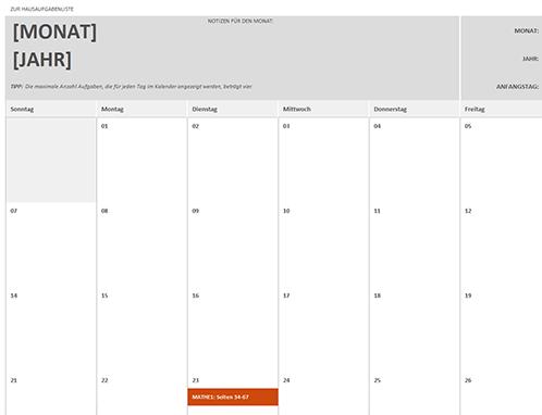 Hausaufgabenkalender