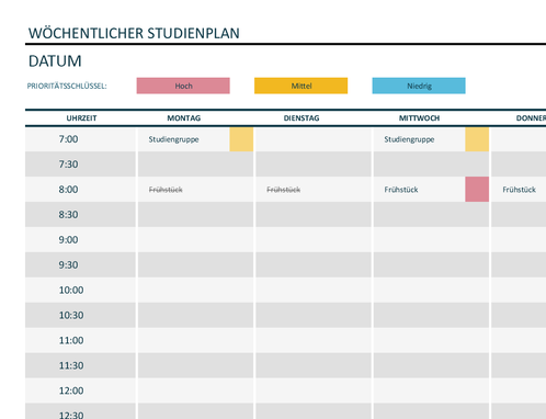 Studien Wochenplan Office Templates