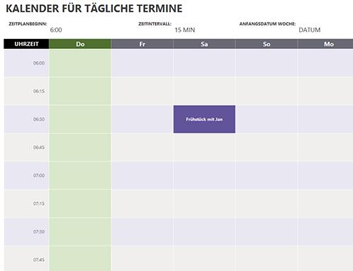 Kalender für tägliche Termine
