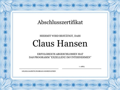 Abschlusszertifikat (blau)