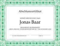 Abschlusszertifikat (grün)