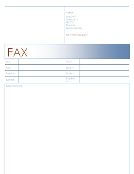 Faxdeckblatt (Blaues Design)