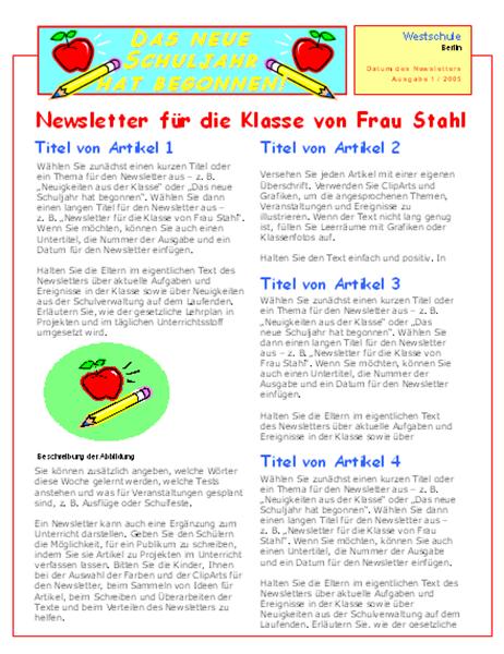 Bulletin d'informations d'une classe (2 colonnes, 2 pages)