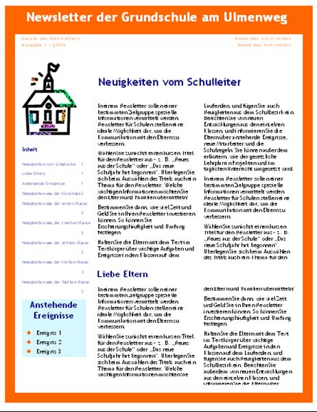 Newsletter für eine Schule (dreispaltig, vier Seiten)