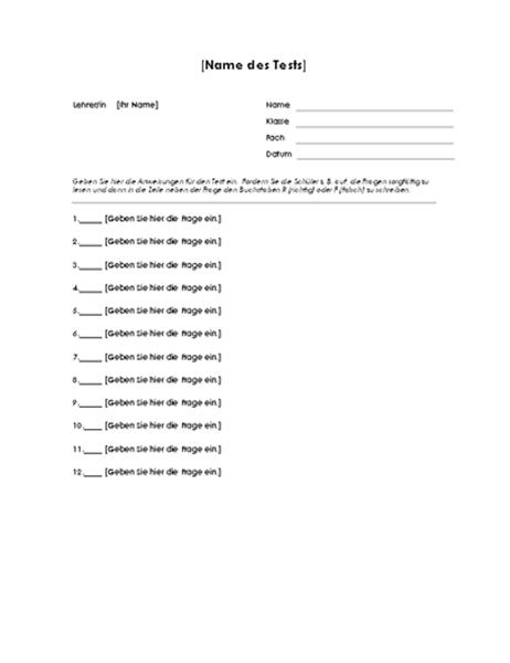 Test mit Richtig-oder-Falsch-Fragen