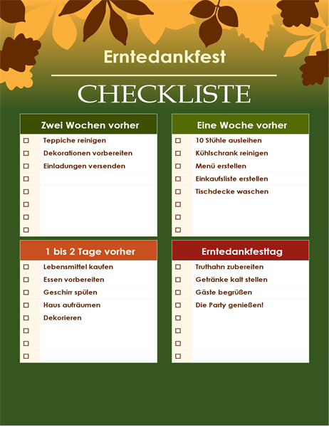 Grüne Checkliste für das Erntedankfest