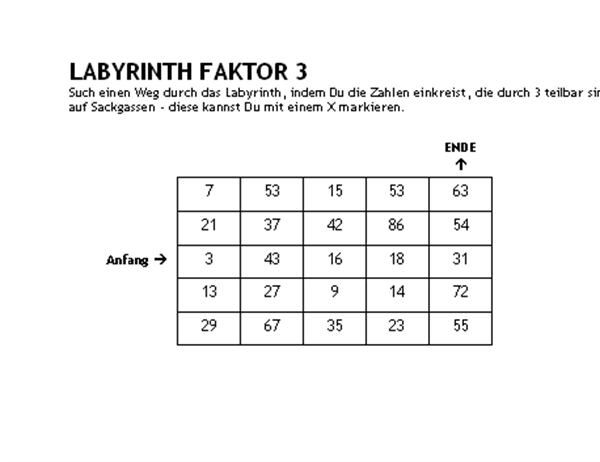 Zahlenlabyrinth, Stufe1, Faktor3