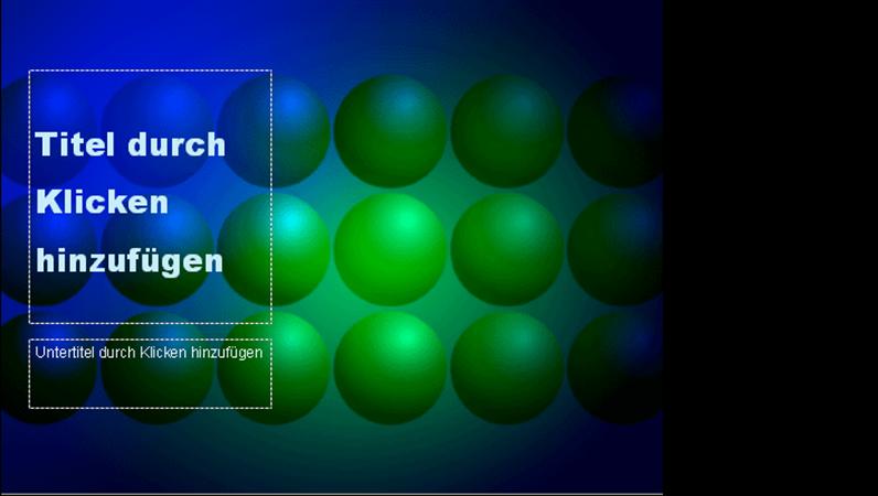 """Entwurfsvorlage """"Blaue und grüne Kugeln"""""""