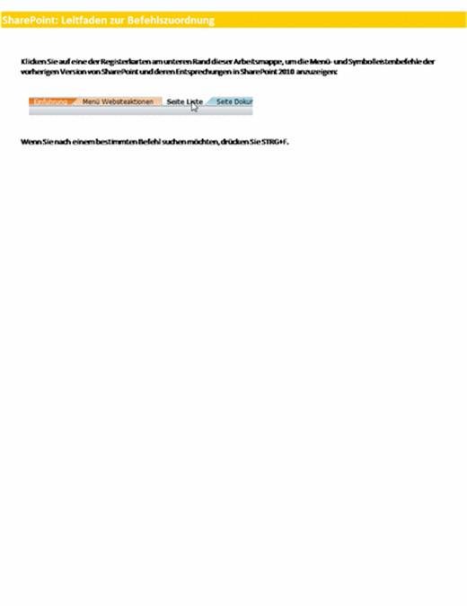 Classeur de référence pour les mappages du Ruban SharePoint Server