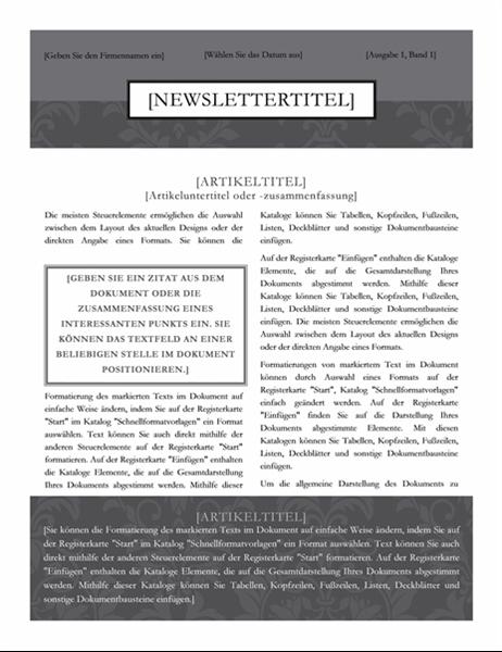 """Newsletter (Design """"Schwarzes Band"""")"""