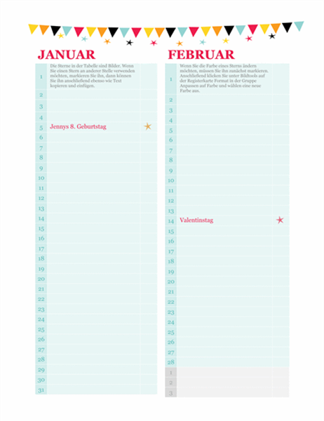 Calendrier des anniversaires et des anniversaires de mariage (n'importe quelle année)