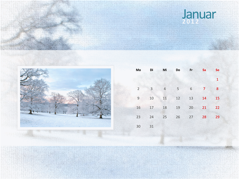 Calendrier photo 2012- Premier trimestre