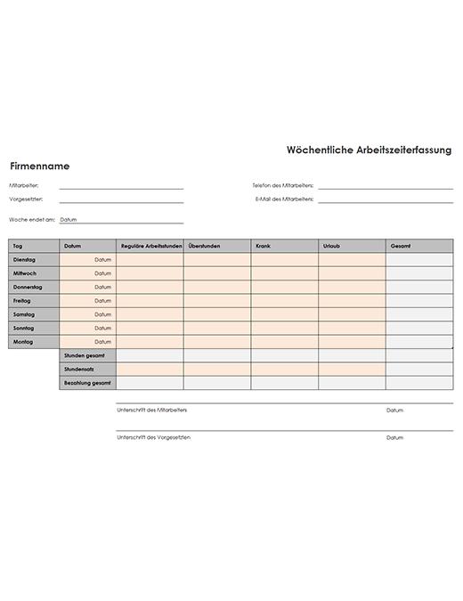 Wöchentliche Arbeitszeittabelle (A4, Hochformat)