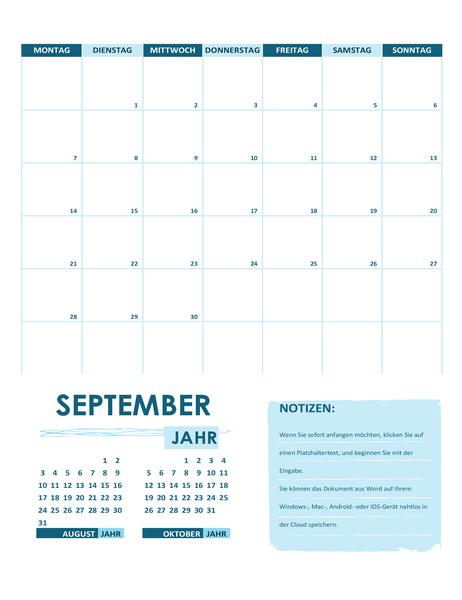 Akademischer Kalender (ein Monat, alle Jahre, Wochenanfang Sonntag)