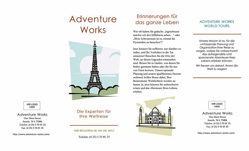 Reisebrochüre (8 1/2 x 14, Querformat, 4-fach)