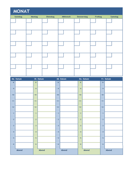 Calendrier de planification mensuelle et hebdomadaire