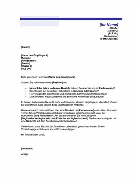 Bewerbungsschreiben für Initiativbewerbung (mit blauer Linie)