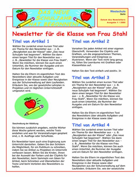 Newsletter für Schulklasse (zweispaltig, zwei Seiten)