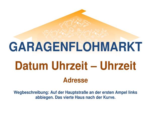 Handzettel für Garagenflohmarkt