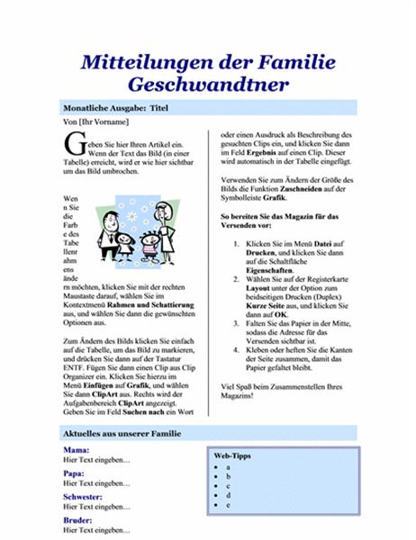 Familienmagazin (2 Seiten)