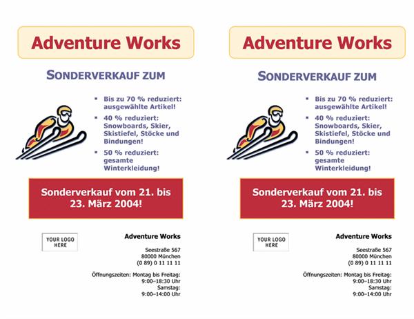 """Handzettel """"Sonderverkauf"""" (21,6 x 27,9 cm, 2 Elemente, 2 hoch)"""