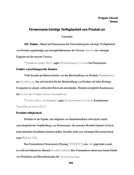 Pressemitteilung mit Produktankündigung
