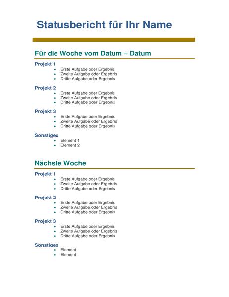 Wöchentlicher Statusbericht für Mitarbeiter