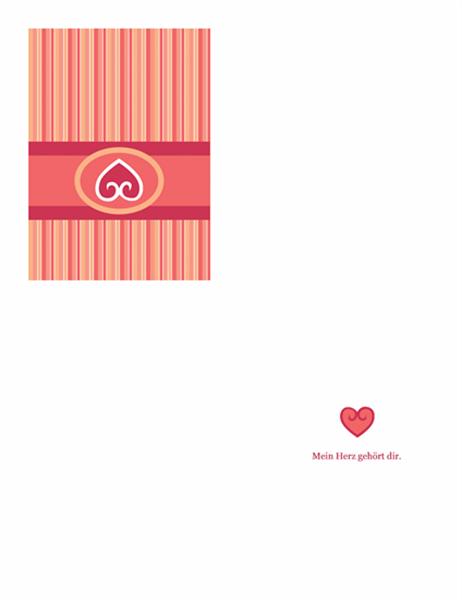 Carte d'amour (motif rouge)