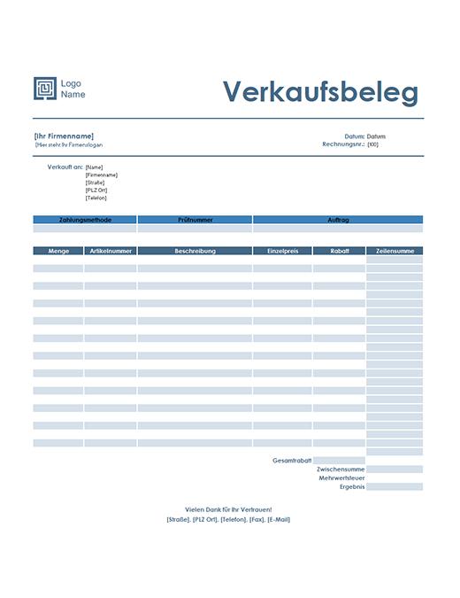 "Verkaufsbeleg (Design ""Einfaches Blau"")"