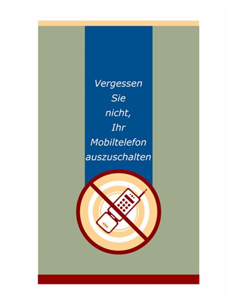 Aufforderungsnotiz zu Mobiltelefonen